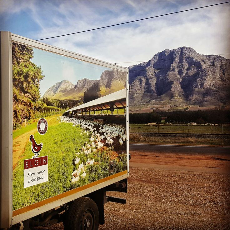 One of our Elgin Free Range Chicken trucks making a delivery in Franschhoek earlier this week.⛰️🚛 #PicturePerfect