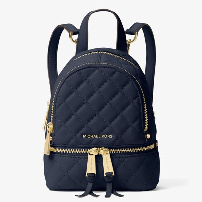 MICHAEL Michael Kors Rhea Extra-Small Quilted-Leather Backpack Navy Blue