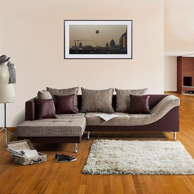 Canapé d'angle SitCom - Imitation cuir / Tissu structuré - Méridienne à gauche (vue de face) - Marron foncé / Marron clair
