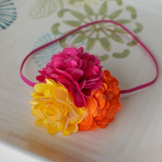 Bright Pink Orange and Yellow Satin Puff Flower by MyLittlePixies, $9.50: Satin Puff, Bright Pink, Yellow Pink Orange, Trio Headbands, Puff Flowers, Headbands Galor, Headbands Bows Pacifiers Etc, Yellow Satin, Flowers Trio