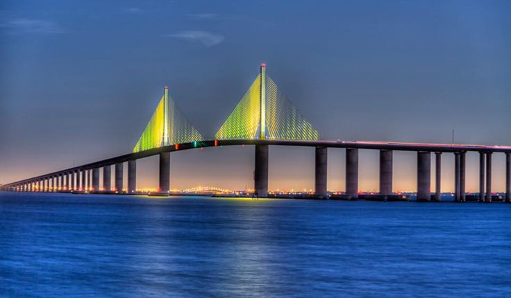 The Sunshine Skyway Bridge stretches across Tampa Bay, in Florida.