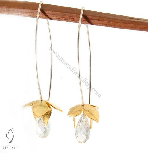Gold Lotus Earrings with Swarovski