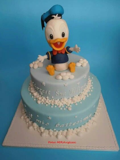 Christening cake with baby duck