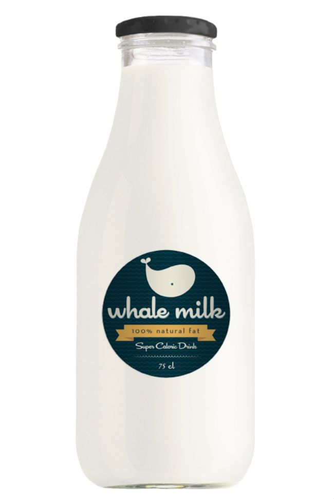 "Whale milk, by Alessia Sabbadini of Italy: ""A little wordplay in which ""whole"" becomes ""whale"". Whale Milk, the best drink from the seven seas!"""