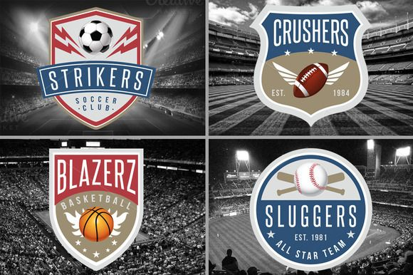 4 Sports Logos Templates by Lucion Creative on Creative Market