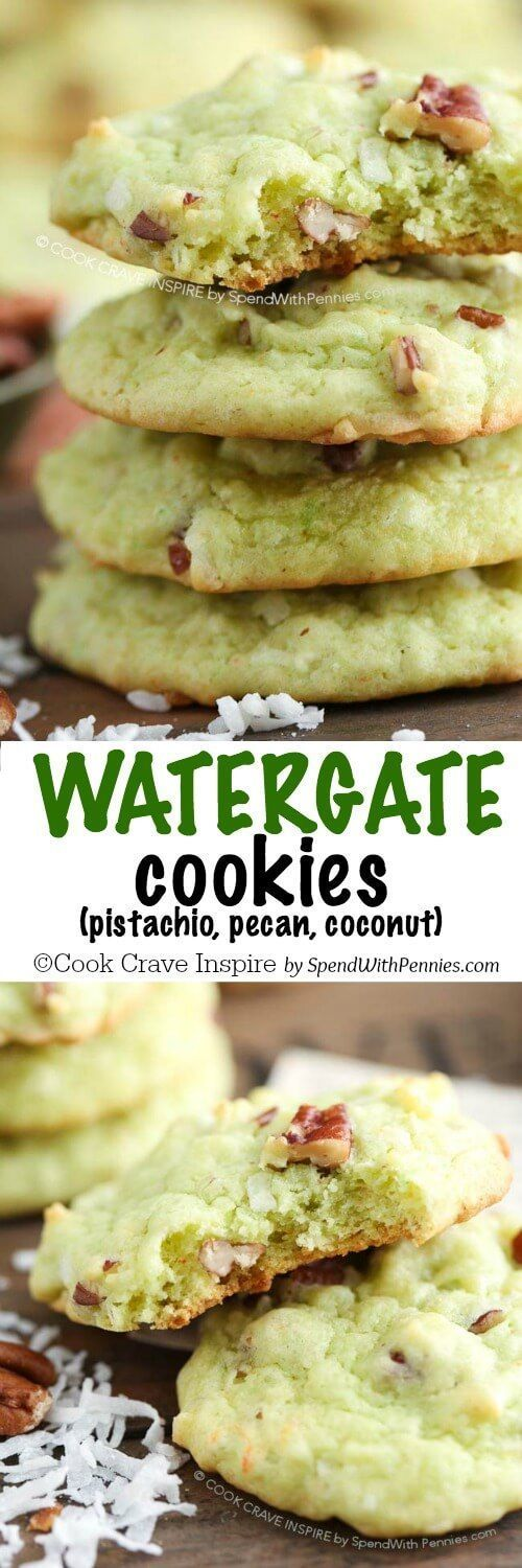 If you like Watergate salad, you'll love these Watergate cookies! This family favorite cookie recipe is loaded with pecan, coconut and pistachio and needs just one bowl!