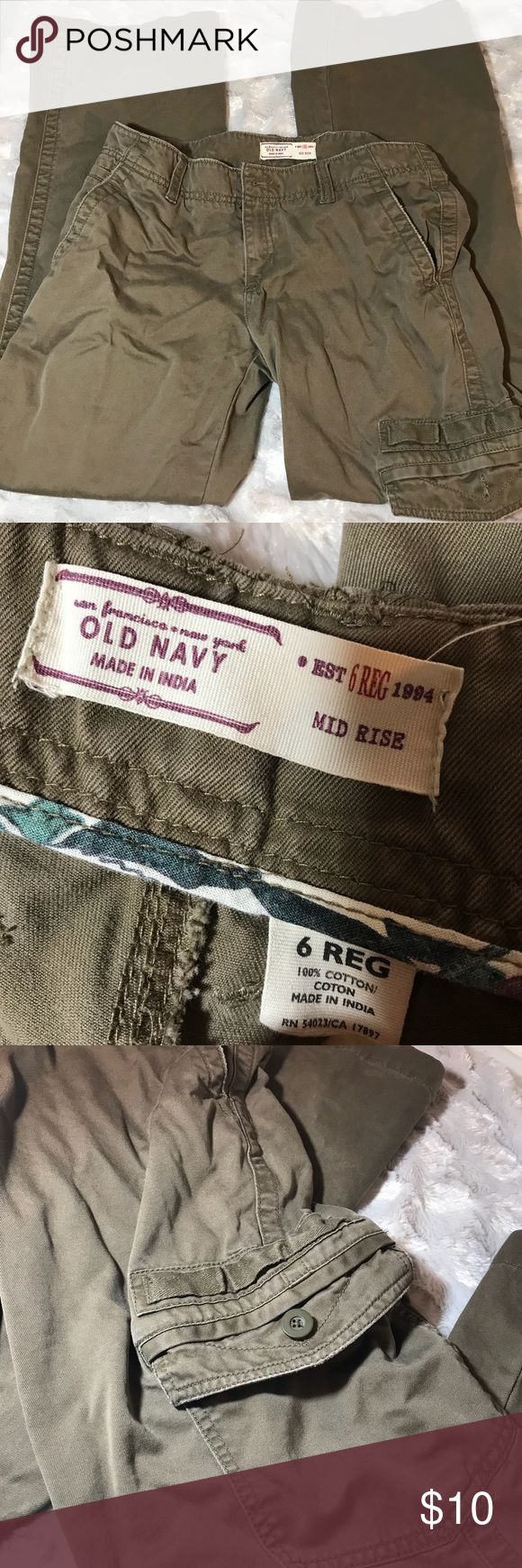 Old navy cargo pants. Military. Left leg pocket. Old navy tan cargo pants. Size 6 reg. Military vibe. Left leg pocket. Old Navy Pants