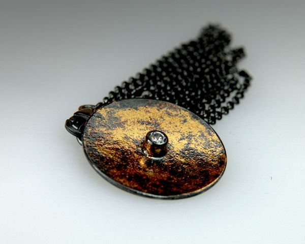 Pendant: sterling silver, 22-karat gold, hand fabricated, oxidized,keum boo.