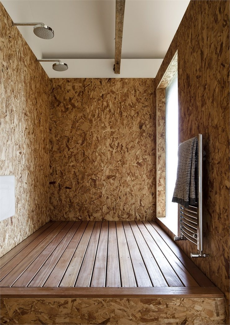 Ochre Barn, Norfolk, 2010 by Carl Turner Architects OSB shower walls with wooden floor