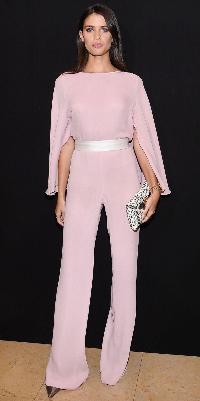 ab0fc832d08 magnifique combinaison pantalon stylée aux manches longues design kimono de couleur  rose pâle avec ceinture