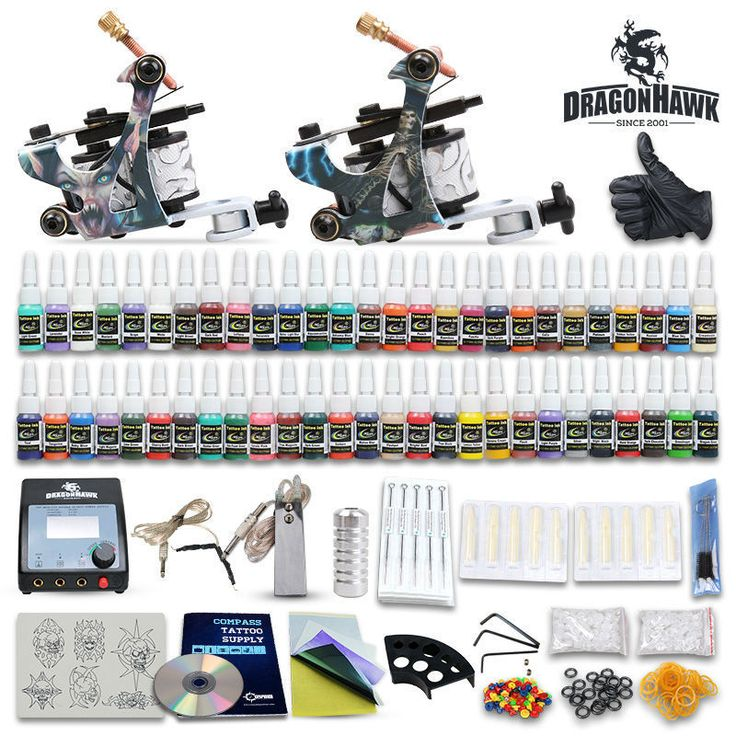 Beginner tattoo starter kits 2 guns machines 20 ink sets power supply needle pedal tips D100GD-6
