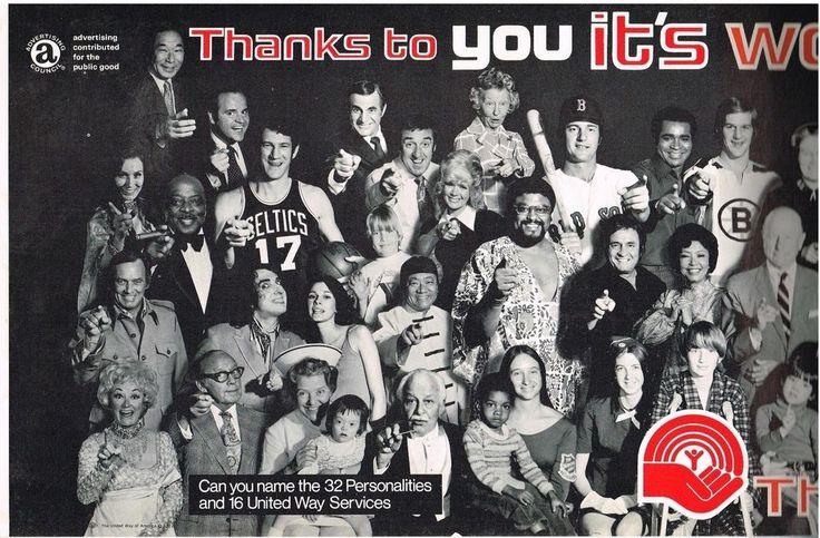 United Way Poster 32 Celebrities 1972 Johnny Cash John Havlicek Ted Williams