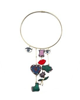 NIKI DE SAINT PHALLE  ASSEMBLAGE NECKLACE, THIS WORK IS A CONTINUATION OF THE EDITION STARTED IN 1974, COMPLETED IN 2015 archive reference NS/9 signed 'Niki de Saint Phalle, 1974' and numbered, stamped with archive number, 750 and makers mark 'GM' (on the heart) 18k yellow gold and enamel face; length: 13 cm  width: 8 cm edition of 3