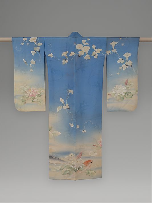 Summer Kimono with Carp, Water Lilies, and Morning Glories  Period: Meiji period (1868–1912) Date: ca. 1876 Culture: Japan Medium: Resist-dyed, painted, and embroidered silk gauze with plain-weave patterning; The Metropolitan Museum of Art