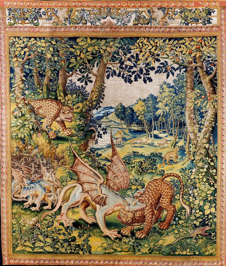 Tapestry with dragon fighting with a panther by Master of a loop Mark after Pieter Coecke van Aelst, ca. 1555 (PD-art/old), Zamek Królewski na Wawelu, from a set commissioned by Sigismund II Augustus