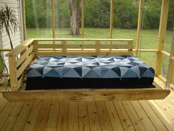 This is a porch bed swing made from reclaimed wood and for How to make a pallet swing