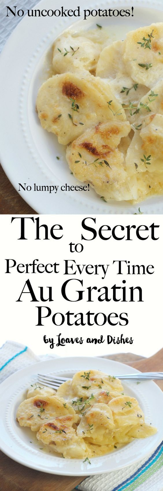 Easy Homemade Au Gratin Potatoes that are perfect every time. No undercooked potatoes. No clumpy cheese. Better than Pioneer Woman, Ina Garten, Ruth Chris and Paula Deen combined. You could add ham or make in the crockpot. Homemade is healthy and the best, right? via @loavesanddishes