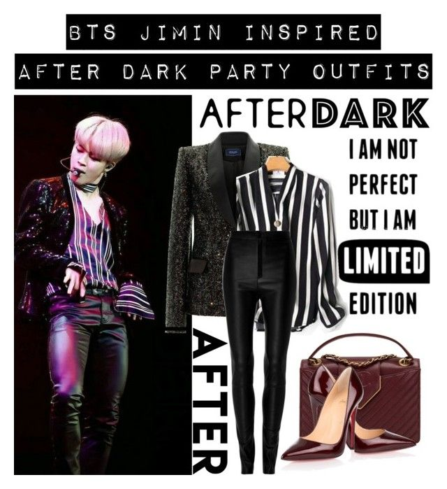 """""""BTS JIMIN INSPIRED #AFTERDARK PARTY OUTFITS"""" by bluemoon019 on Polyvore featuring Zeynep Arçay, Chanel and Christian Louboutin"""