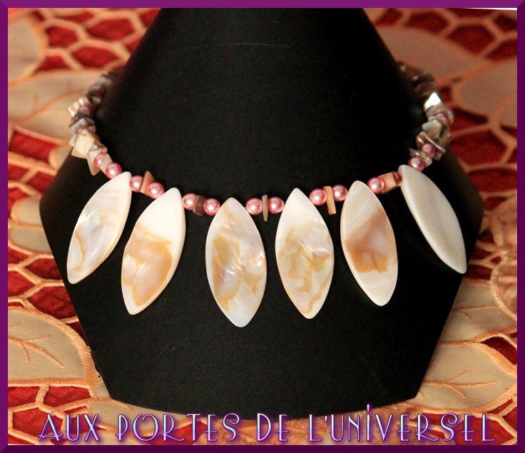 Collier large nacre et coquillage naturel avec perle nacrée roses : Collier par portes-universel