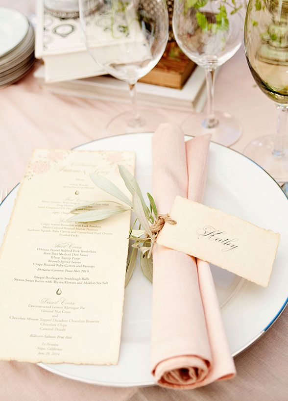 Atmosphere- The place cards will be tied to each napkin as part of the seating system.