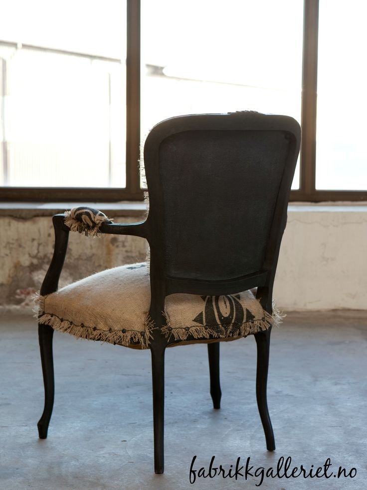 Painted with Victorian black from Vintro Chalk Paint, also the textile on the back. Coffee bags used for upholstery