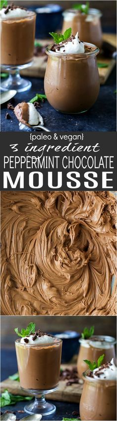 Easy Paleo & Vegan 3 Ingredient Peppermint Chocolate Mousse - creamy, luscious, and decadent. This Chocolate Mousse is absolutely perfect for the holidays!