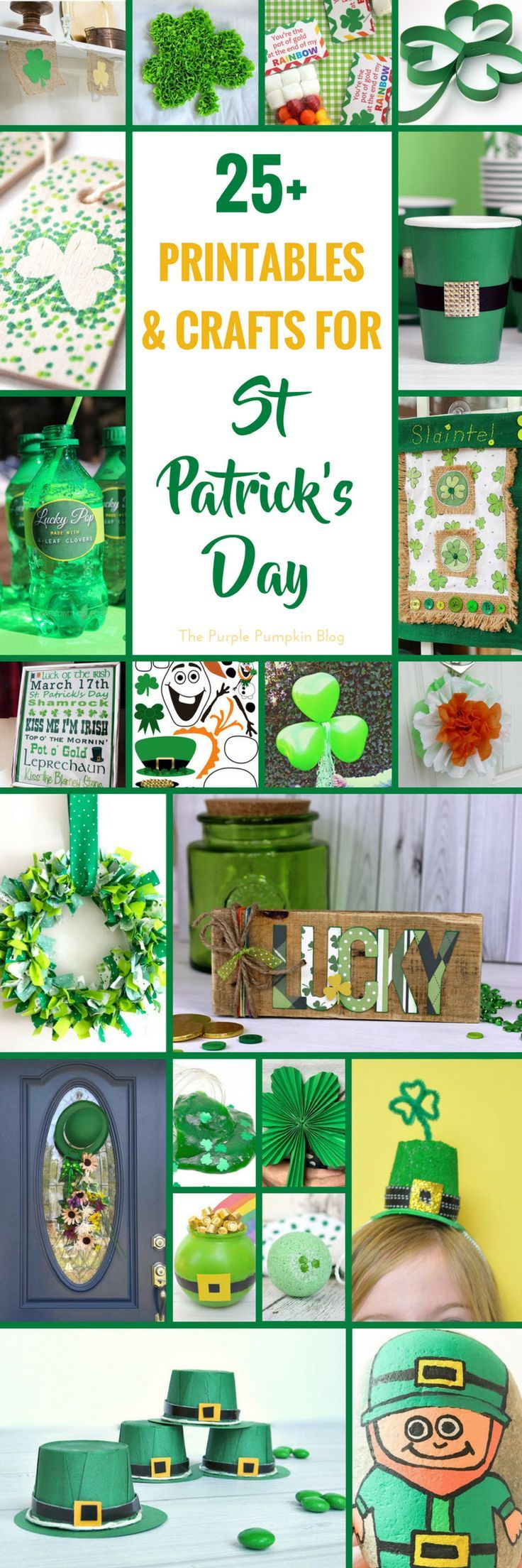 25 Printables & Crafts for St. Patrick's Day! Features a lot of green materials that make a fun selection of crafts! Celebrate St. Patrick's Day with some of these creative ideas including rock painting, paper crafts, and St. Patricks Day house decor. #StPatricksDayCrafts #PattysDayCrafts #PaddysDayCrafts via @mspurplepumpkin