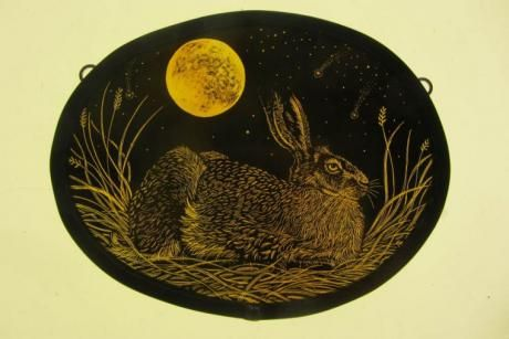 """Harvest Moon (Golden Hare)"" by stained glass artist Tamsin Abbott"