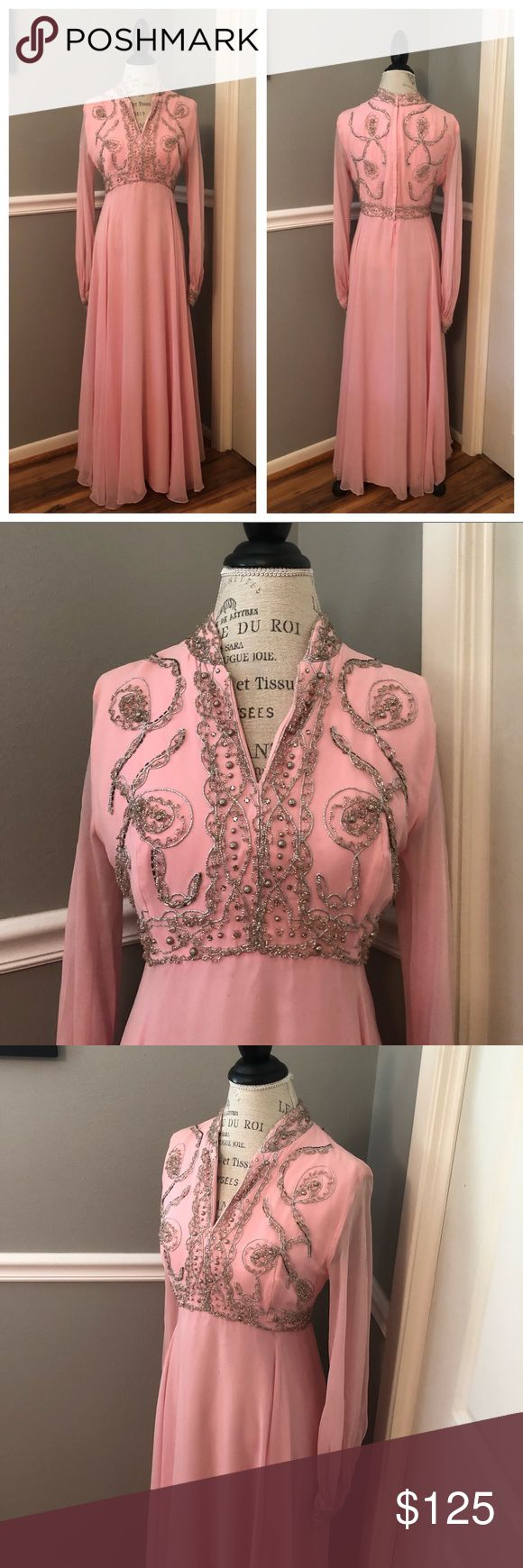 ✨VINTAGE•EXQUISITE•PINK•GOWN💫 Royalty, Coachella, Hippie Chic! Light Pink W/Silver Beading. Fully Lined W/Sheer Top Layer/Sleeves. Hand Bea...