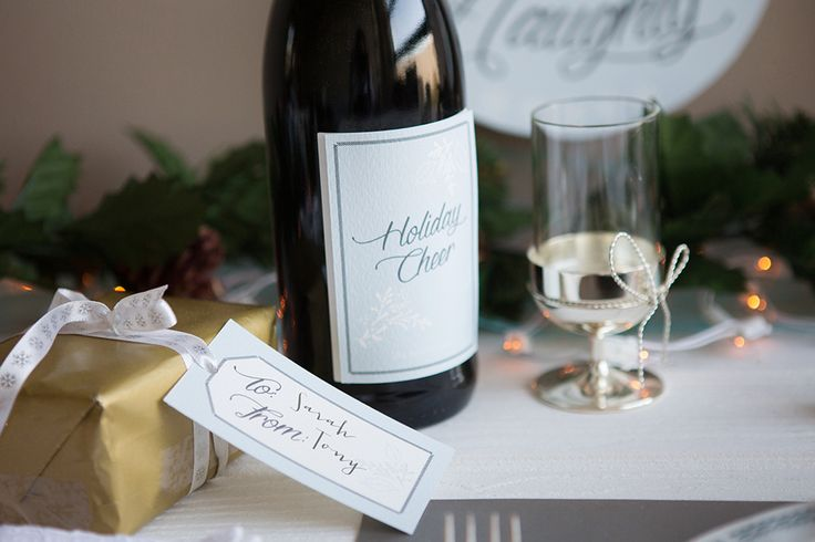 Printable Christmas themed wine label. Blue snowflake design fully customisable. Christmas gift tag in matching design. Order yours here for instant download: http://www.appleberrypress.com/wedding_stationery_1216_