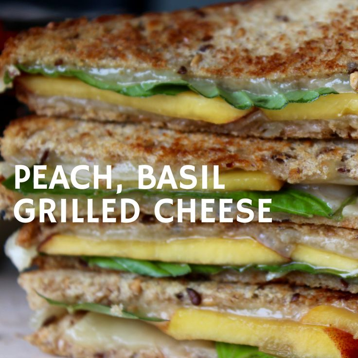Balsamic Peaches, fresh basil, sprouted grain bread, and good quality aged cheddar from grass-fed pastured cows makes a mouthwatering grilled cheese sandwich.