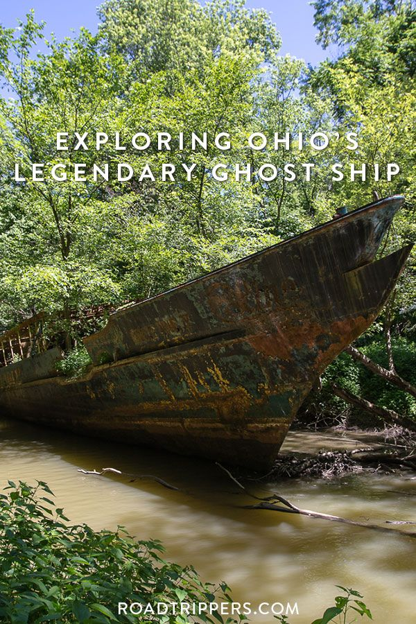 25 miles downstream of Cincinnati, Ohio rests an abandoned ghost ship!