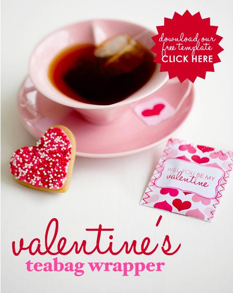 Such a pretty cup of tea, a sweet cookie, and a free printable tea bag wrapperValentine'S Day, Valentine Day Ideas, Valentine Teas, Bags Wrappers, Valentine Ideas, Teas Bags, Free Printables, Valentine Teabag, Teabag Wrappers