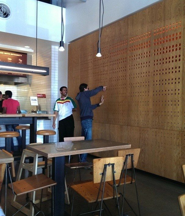This grown man who decided to stick his finger in the wall at Chipotle.