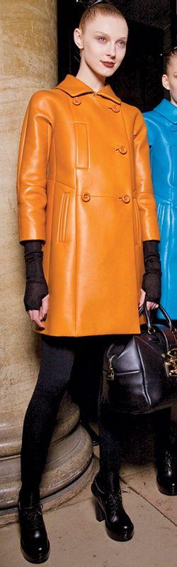Short orange Leather Coat by Loewe