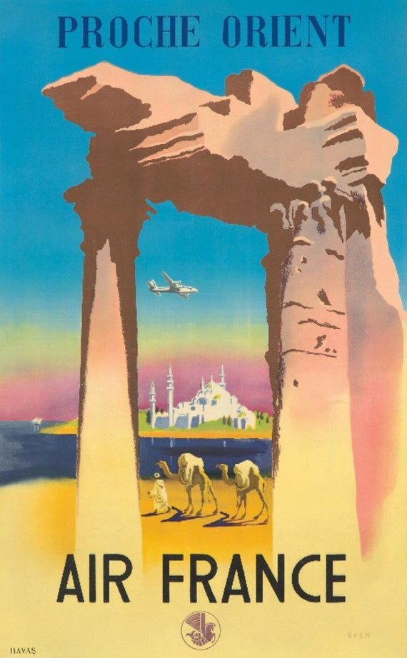 Even 1950 Affiche AIR FRANCE  Proche Orient