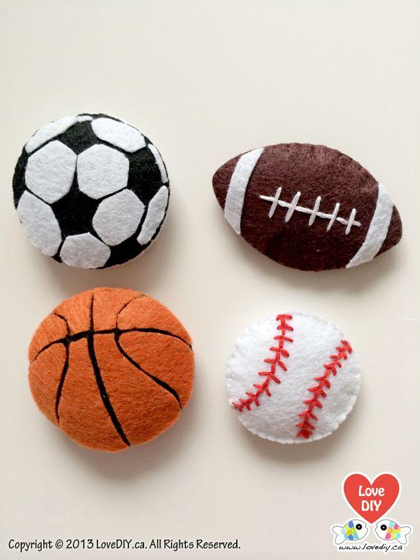 Felt Magnets, Felt Balls Fridge Magnets Set of 4, Baby Learning, Felt Toys