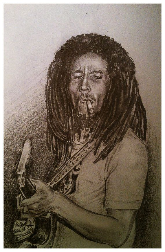JEREMY WORST Bob Marley Sketch Original Artwork Signed Framed Print on Etsy, $50.00