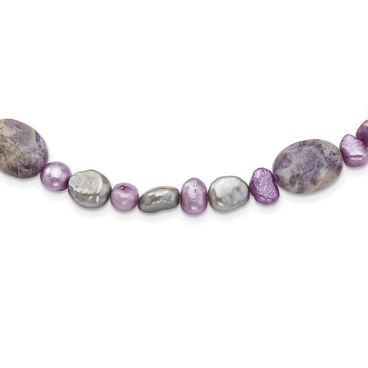 Sterling Silver Charoite, Jade & FW Cultured Pearl Necklace QH4613
