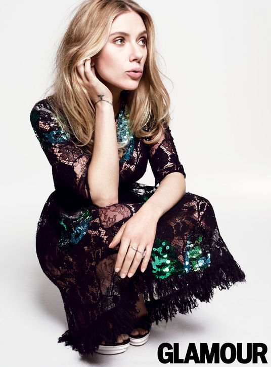Scarlett Johansson in Glamour, May 2014. Dress, Louis Vuitton; Heels, Dolce & Gabbana. Photo: Tom Munro