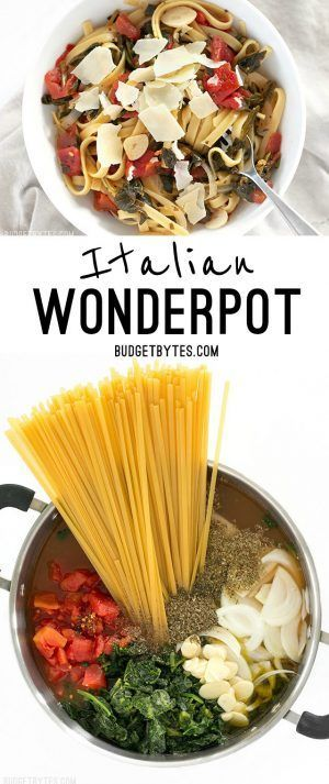 All the ingredients for this Italian Wonderpot cook together in one pot to make an incredibly fast, flavorful, and easy weeknight meal. @budgetbytes