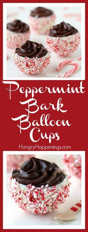 It's fun and easy to create these festive Peppermint Bark Balloon Bowls which can be filled with luscious chocolate mousse or your favorite holiday treat like ice cream or pudding.