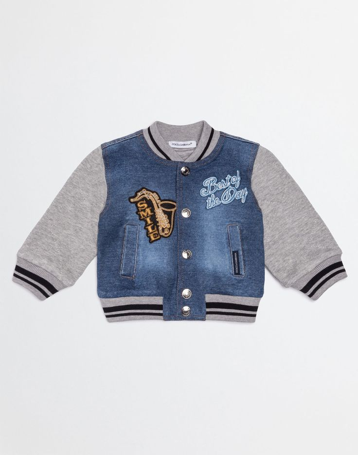 COTTON AND DENIM SWEATSHIRT WITH PATCH