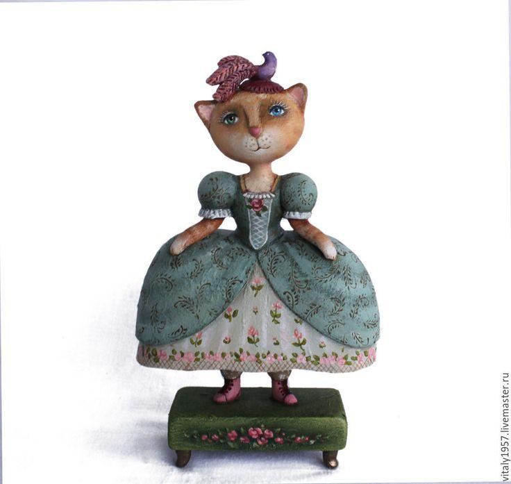 Купить Кошка в платье мятного цвета . Скульптура. Дерево. Ручная роспись3 - скульптура, дерево