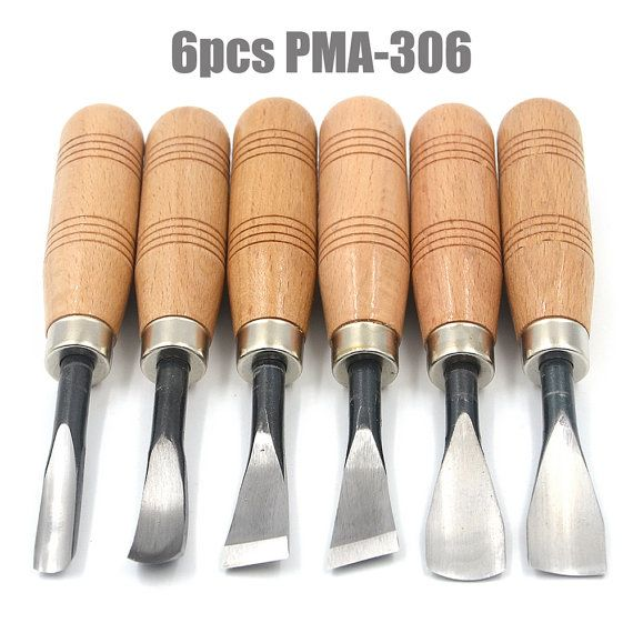 6 Piece Wood Chisel Set with Wood Handles