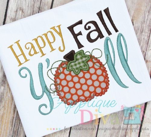 Happy Fall Y'all Digital Embroidery Design by theappliquediva