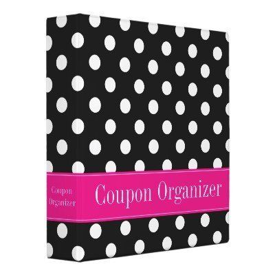 Pink and Black Polka Dot Coupon Organizer 3 Ring Binder by Zazzle. $19.95. Pink and Black Polka Dot Coupon Organizer Personalized Coupon Binder. A trendy black and white polka dot pattern with a pink accent is featured on this coupon binder that you can easily personalize. Makes a great gift for any couponer! Don't see the color you want? Use the contact link above to request your FREE color combination. BINDER DOES NOT COME WITH PHOTO/PAGE INSERTS Created by binderlane K...