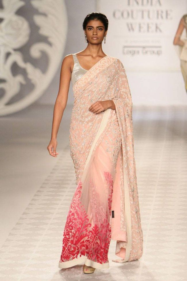 B'ful Blush Pink #Saree by Varun Bahl https://www.facebook.com/pages/Varun-Bahl/148626261957118 @ #ICW2014