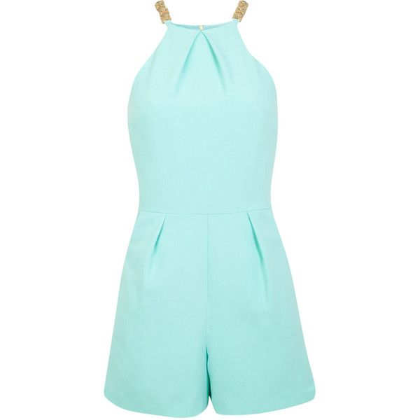 Miss Selfridge Mint Trim Playsuit (1915 RSD) ❤ liked on Polyvore featuring jumpsuits, rompers, dresses, playsuits, jumpsuit, shorts, mint green, romper jumpsuit, playsuit jumpsuit and blue rompers