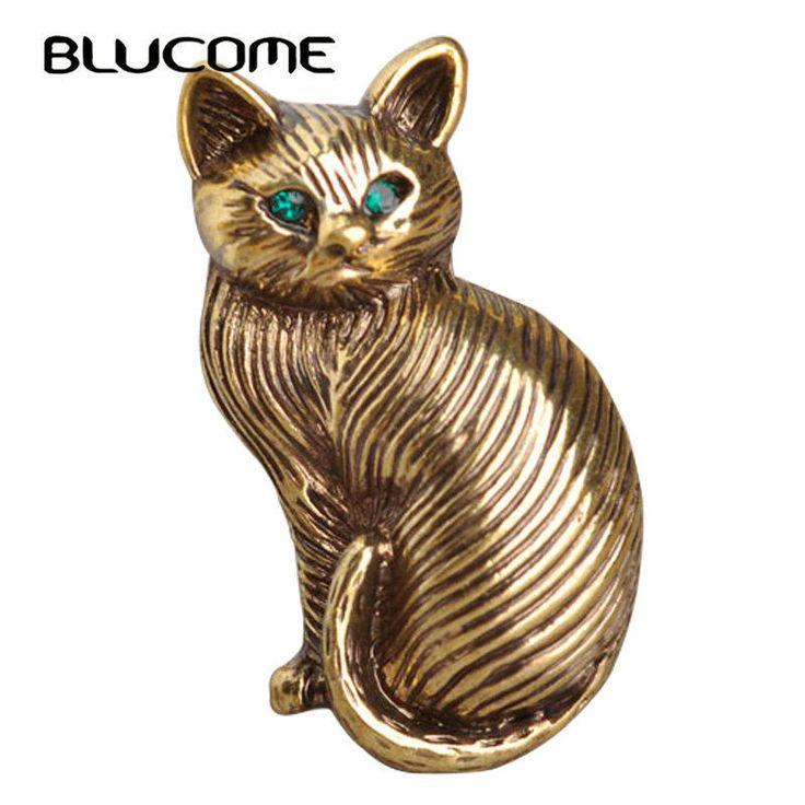 Blucome милый зеленый кристалл глаза кошки Броши для женщин и детей  #Blucome